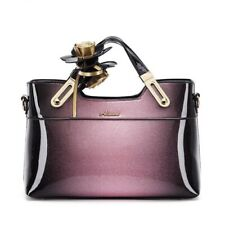 Women Luxury Patent Leather Handbags Ladies Flowers Elegant Tote Shoulder Bags