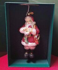 Reed Barton European Glass Ornament Santa And Stocking W/ Swarovski Crystal