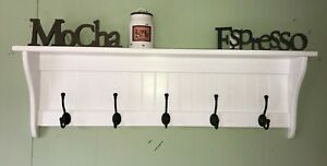 "Hanging Wall Shelf 42"" Wide White with Black English Hooks"