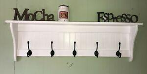 "Hanging Wall Shelf 42"" Wide White with Black English Hooks"