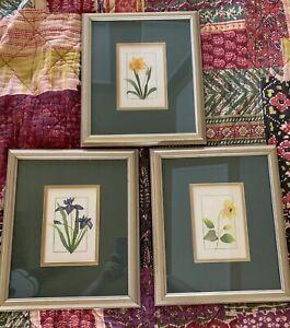 """Set Of 3 Hand Made Paper Original Artwork FLOWERS  13.5""""x 11.5"""", VTG"""