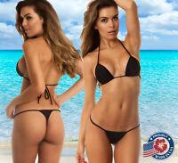 COQUETA Sexy Brazilian Bottom Teeny Micro MINI Thong Mini Bikini Swimwear Set