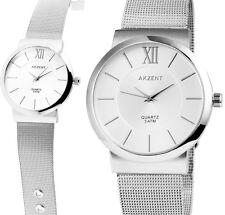 edle Damen Herren Armbanduhr Silbern mit Edelstahl-Meshband AKZENT 1300002