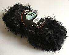 Black Long Eyelash Yarn Dark Horse Yarns Soft #112 Solid Black - 100 Grams 54Yd