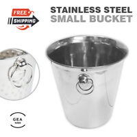 Champagne Wine Ice Bucket Bottle Cooler Stainless Steel Washable Side Handles UK