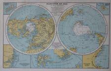 Landkarte, Polansichten der Erde, A.Hartleben, Wien, Pest, Leipzig 1884
