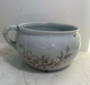 Antique Apollo Chambers Pot with/ Brown Floral Design