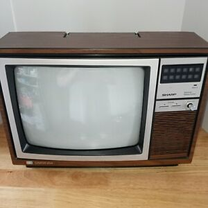Vintage Sharp 13'' TV Television Retro GAMING Woodgrain WORKS Linytron Plus 80'S