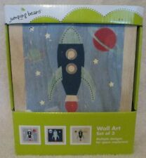 "New 7""x7"" Jumping Beans Space Rockets Wall Art Set of 3 boys room decor Nib"