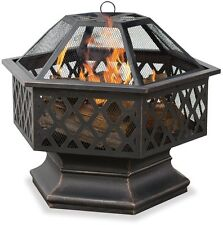 Uniflame Oil Rubbed Bronze Hex Shaped Outdoor Firebowl w/Lattice Wad1377Sp New
