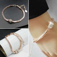 Women's Rhinestone Rose Gold Plated Crystal Bracelet Bangle Jewelry-Fashion· Gif