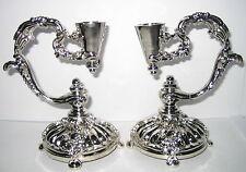 2 Kerzenleuchter Tischleuchter aus Metallguss, silberfarben, Italy, 12x9x7cm