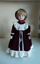 Rare Old Collectable Large Porcelain Soft Body Doll On Stand W Burgundy Velvet &