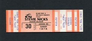 1983 Stevie Nicks Joe Walsh Unused Concert Ticket Jackson MS Wild Heart Tour