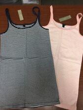 NEW J Crew 2 PC Micro Stripe Layering Tank Top Shirts Cotton Blue Pink Womens M