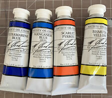 Lot Of 4 M. Graham 37 ml Oil Paint Tubes Ultramarine Manganese Bismuth Yellow