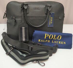 Polo Ralph Lauren Travel Satchel Case Black Leather Messenger Bag NEW $525