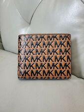 NWT Michael Kors Harrison Billfold Passcase Wallet MK Logo Blk/Luggage