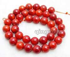 """10-11mm Round Natural Red Coral Loose Beads for Jewelry Making Strand 15""""-los102"""