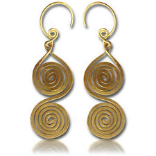 """Pair 18g (1Mm) 2"""" 3/8 Inch Long (60Mm) Hand Forged Brass Plugs Earrings Spirals"""
