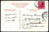BRITISH CEYLON TO GREAT BRITAIN Re-sent Postcard 1906 VF