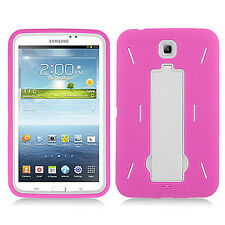 Samsung Galaxy Tab 3  7.0 Impact Hard Rubber Case Phone Cover with Kick Stand