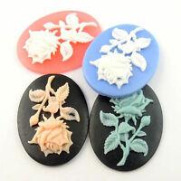 Mixed Color Oval Flower Cameo Cabochon Fit Tray Setting 40*30mm 12pcs