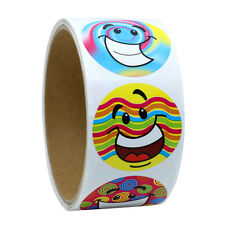 """1.5"""" Inch Round Colorfull Lovely Smiley Face Happy Stickers 100 Adhesive Labels"""