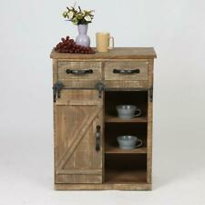 Rustic Barn Door Shelf Wood End Table Cabinet Drawers Farmhouse Wood Storage
