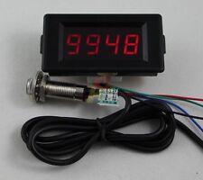 DC 12V 4 Digital Blue LED Counter Meter Plus Minus+Hall Proximity Sensor NPN