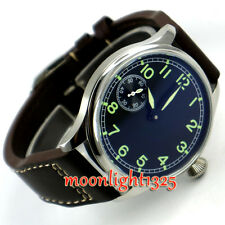 44mm parnis black sterile dial seagull 3600 hand winding 6497 mens watch