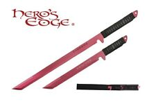 2 PC Set Full Tang RED Blade Straight Ninja Sword with Sheath NEW