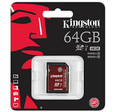 64GB KINGSTON SD SDXC UHS-1 U3 Scheda di memoria per video HD 2k 4k 90MB/s SDA3/64GB