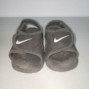 Size 7C Nike Sunray Toddler Black Sandals 386519-011 Boys Kids Comfort Slip on