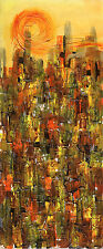 """CUBAN ART**Mirelys**La Puesta Del Sol**ORIGINAL 19.75x7.25"""""""