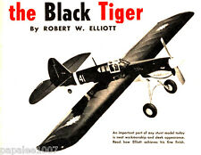 "Model Airplane Plans (UC): Black Tiger 45"" Semi-Scale Stunt for .29-.35 Engine"