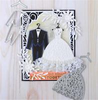 Stanzschablone Hochzeit Anzug Kleid Weihnachts Oster Geburtstag Karte Album DIY