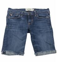 Abercrombie Kids Size 12 Girls Cute Stretch Cut Frayed Jean Shorts Dark Wash