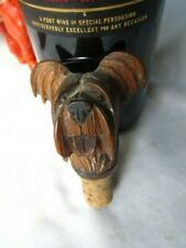 lovely antique treen wood bottle stopper in the form of scottie/terrier dog head