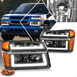 For 04-12 Chevy Colorado LED DRL Bumper Headlight/lamp Black Housing Amber Side