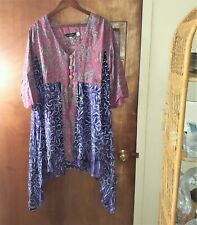LotusTraders A296 Boho Oversize Basic Blouse Top Rayon Crinkle Button Down