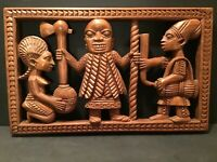 Vintage African Tribal Relief Carved Wood Panel Wall Art Storyboard