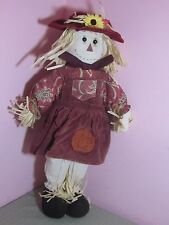 """SCARECROW GIRL WITH CROW PORCELAIN DOLL THANKSGIVING FALL 16/"""" COA NEW"""