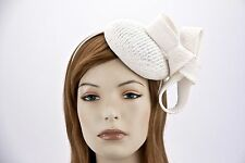 White pillbox fascinator for Melbourne Cup by Max Alexander. RRP: $99.95