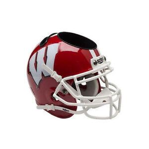 Wisconsin Badgers Scarlet NCAA Football Schutt Mini Helmet Desk Caddy