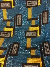 Authentic African Print Polytex Blue Yellow Fabric 3 Yards 32 Inches