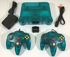 ICE BLUE Teal Nintendo 64 N64 System Console Bundle + 2 NEW Controllers + Jumper