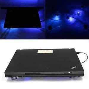 "3 Fan USB Laptop Fan Cooler Stand Cooling Pad Tray Blue LED Light 10-15"""
