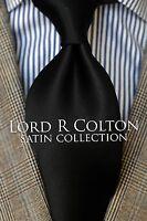 Lord R Colton Satin Tie - Solid Onyx Black Silk Necktie - $79 Retail New