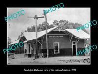 OLD LARGE HISTORIC PHOTO OF RANDOLPH ALABAMA, THE RAILROAD DEPOT c1920